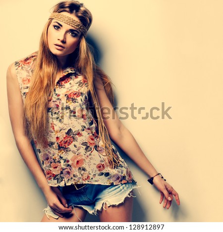 A photo of beautiful girl is in fashion style ,vintag #128912897