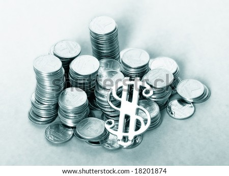 a photo of coins and dollar sign