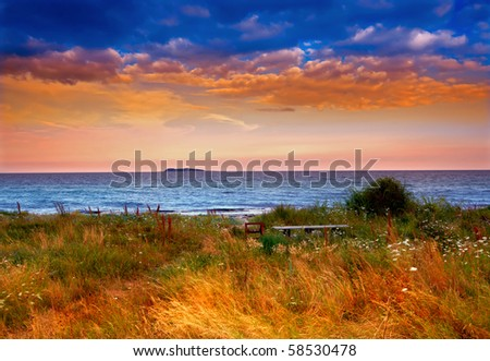 A photo of country sunset by the sea - Denmark