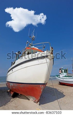 a photo of fishing boats at the beach (Denmark)