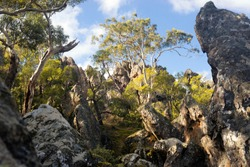 A photo of Hanging rock - popular tourist attraction in Woodend, Victoria, Australia.
