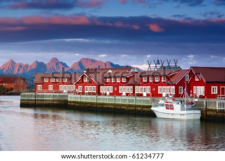 a photo of Harbor houses in Svovlvaer, Lofoten, Norway