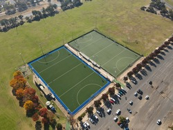 A photo of hockey ground clicked by 48 megapixel camera, 150 meters from the ground.