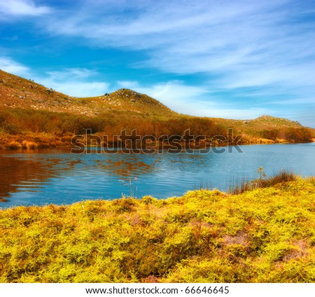 a photo of lake and African wilderness