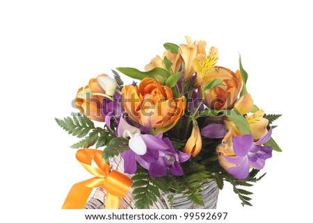 a photo of Summer bouquet over white background