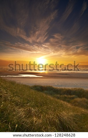 A photo of sunset at the  coastline of Jutland, Denmark