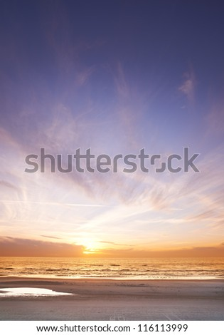 A photo of sunset  - beach and ocean