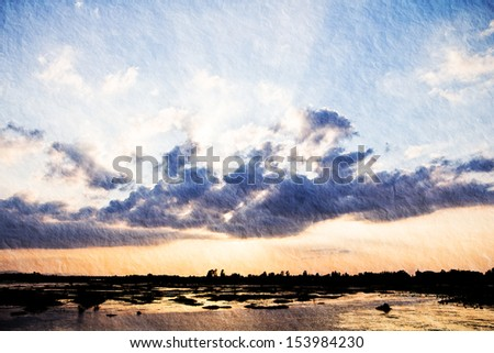 a photo of sunset with sun ray on fresh water,textured
