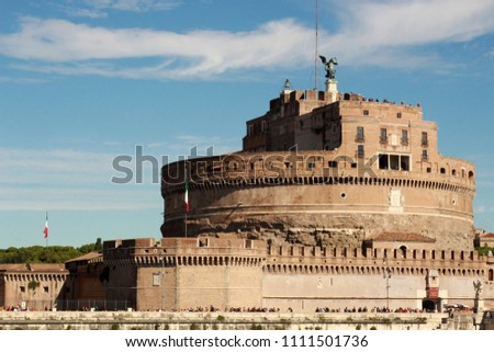 A photo of the exterior of The Mausoleum of Hadrian, formerly known as Castel Sant'Angelo originally used as a mausoleum for  Roman Emperor Hadrian and later used as a castle for the Popes. #1111501736