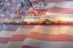 A photo of the tidal basin in Washington D.C. with a American Flag overlay.