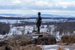 A photo of Union General Kemble Warren on Little Round Top at the Gettysburg National Military Park in Pennsylvania where union and confederate soldiers battled in July of 1863.