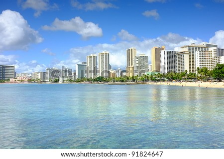 A photo of Waikiki skyline and beach