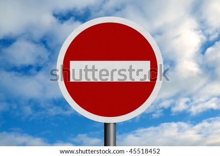 A photo-realistic metallic, reflective 'no entry' sign, against a blue sky with white fluffy clouds. Sign is perfectly circular.