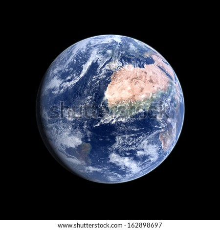A photo-realistic rendering of our Home-planet Earth on a clean black background