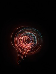 A photo taken by the camera in free flight, Bright colored lines and figures on black. Flyfly. Camera toss image Like electric lamp