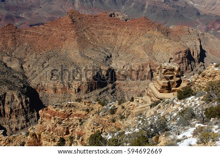 A photograph taken from South Rim area in the morning shows Grand Canyon National Park in all it's glory. stock photo