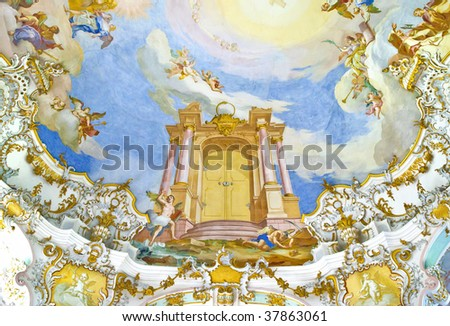 A photography of a fresco in an old church - stock photo