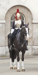 A photography of a royal horse guard in London