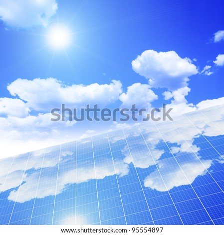 A photography of a solar panel with sky on a background - stock photo