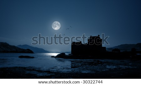 A photography of Eilean Donan Castle by night