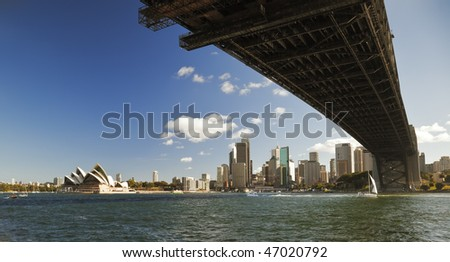 A photography of the Harbour Bridge in Sydney with Opera House - stock photo