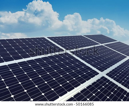 A photovoltaic panel. Solar power plant.