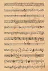 A piano concert for two, sheet music on old paper