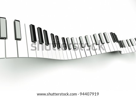a piano keyboard waves on white