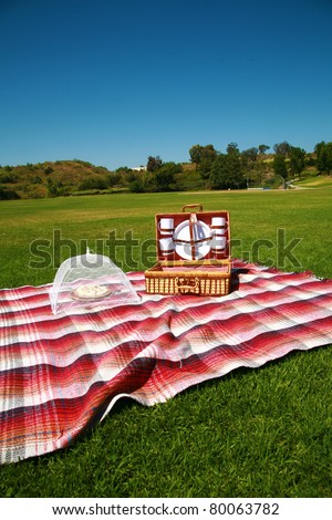 a picnic basket with all the fixins in a park outside one spring day, with banana cream pie for desert