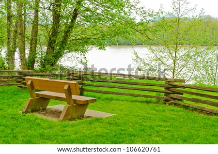 A picnic bench with gorgeous river view at Derby Reach Regional Park, British Columbia, Canada.