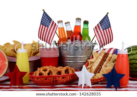 picnic table set up with a Fourth of July theme Horizontal format ...