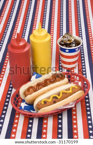 A picnic table with a patriotic table cloth hosts a basket of hotdogs with ketchup and mustard bottles and a cold soday.