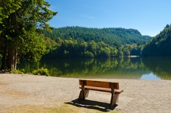 A picnic table with gorgeous view at mountain lake, British Columbia, Canada.