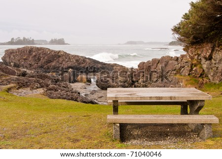A picnic table with gorgeous view at Ocean, British Columbia, Canada. - stock photo