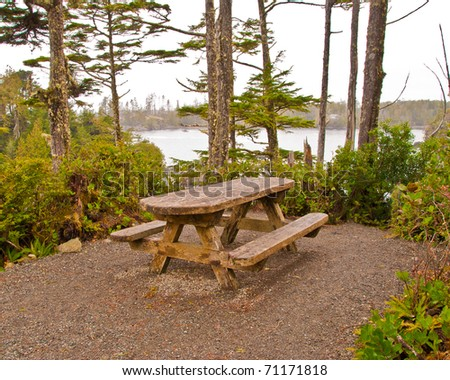A picnic table with gorgeous view at Ocean, British Columbia, Canada.