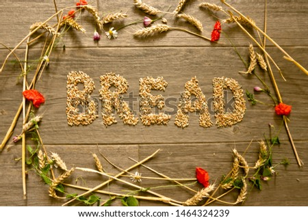 "A picture layed with cereals in form of a collar for Thanksgiving inside is the word ""Bread"" designed. A decoration picture from the bird`s eye view."