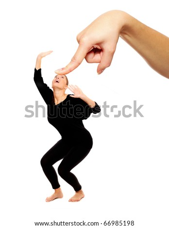 A picture of a big hand trying to press down a woman over white background