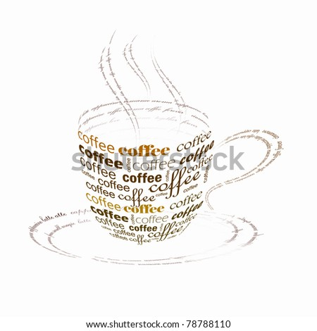 Picture of a cup of coffee made up of words stock photo 78788110