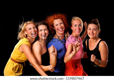 A picture of a group of friends dancing over black background