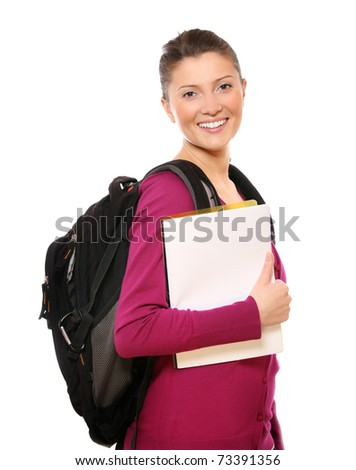 A picture of a happy college girl smiling against white background