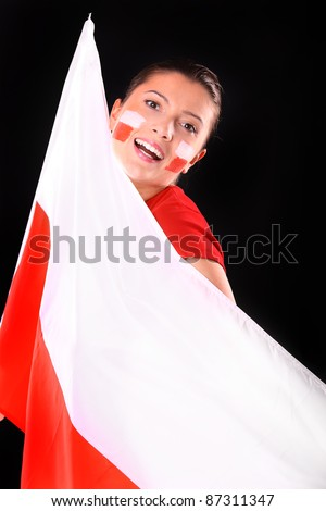 A picture of a happy Polish female fan with the flag over black background.