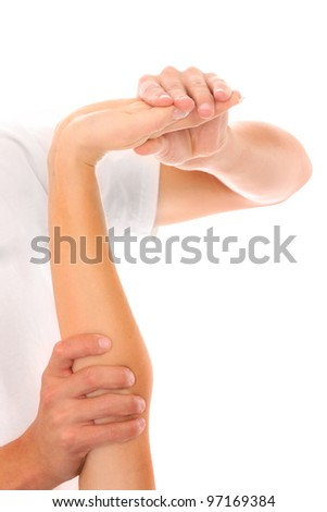 A picture of a physio therapist giving an arm massage over white background
