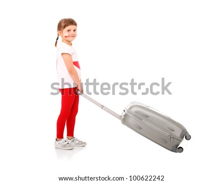 A picture of a Polish little girl in national colors pulling a suitcase over white background