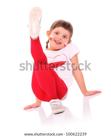 A picture of a Polish little girl in national colors smiling over white background