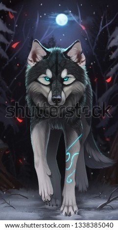 A picture of a wolf who is very handaome and shows his toughenas