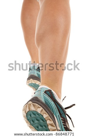 A picture of a woman's legs running on a white background.