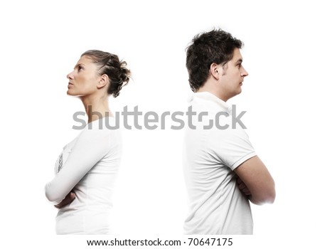 A picture of a young couple turning their back over white background