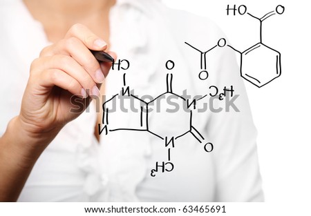 A picture of a young teacher during chemistry lecture over white background