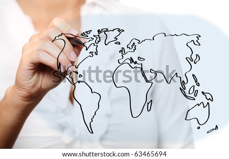 A picture of a young woman drawing a world map over white background