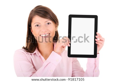 A picture of a young woman holding a tablet computer over white background